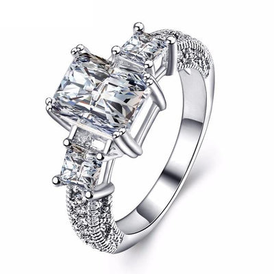 DNO5AM96 18K White Gold Plated Rectangle CZ Ring