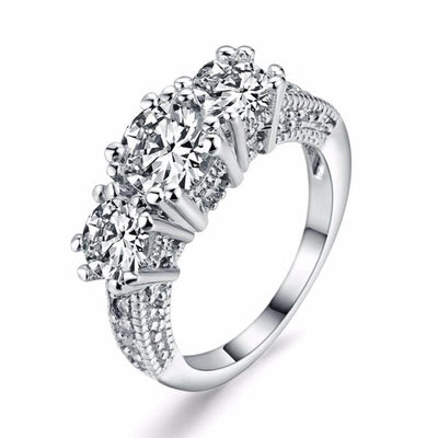 DPXJ172I 18K White Gold Plated 3 Stone Round CZ Ring