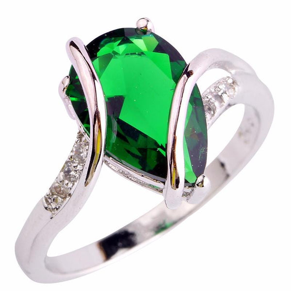 DTU1VRKF 18K White Gold Plated Water Drop Emerald CZ Ring
