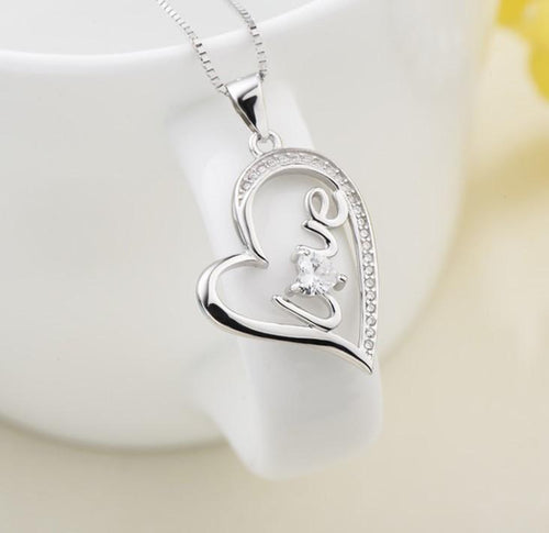 DUF7 925 Sterling Silver Heart CZ Necklace