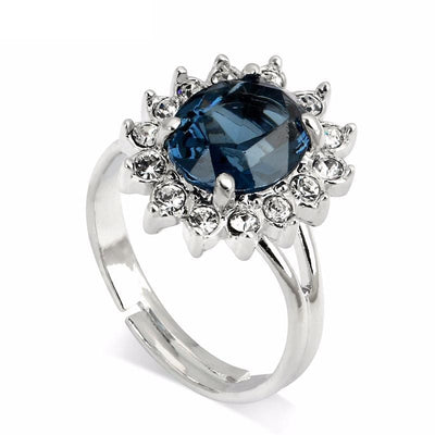 DVJPV9ML 18K White Gold Plated Adjustable Blue Round CZ Ring