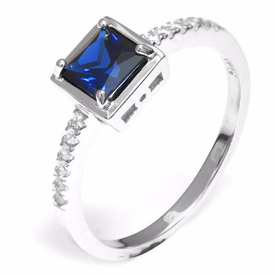 DWKHRCMQ 925 Sterling Silver 0.8ct Sapphire Ring