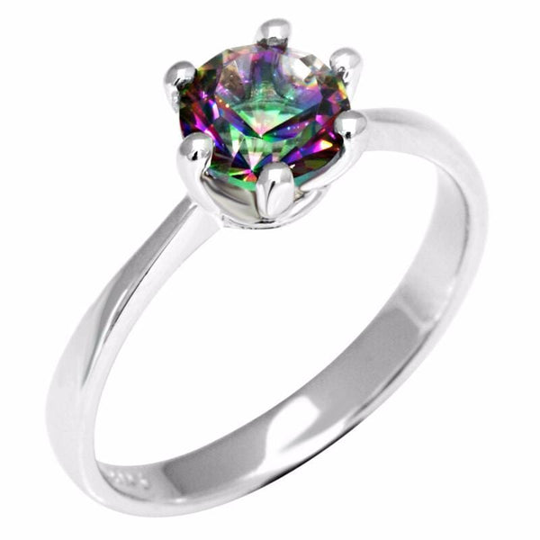 DX6D11CX 925 Sterling Silver Rainbow Topaz Ring