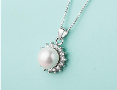 DYGQ 925 Sterling Silver Pearl CZ Necklace