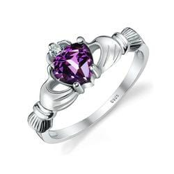 DZK8KAP9 925 Sterling Silver Purple Amethyst Claddagh Ring