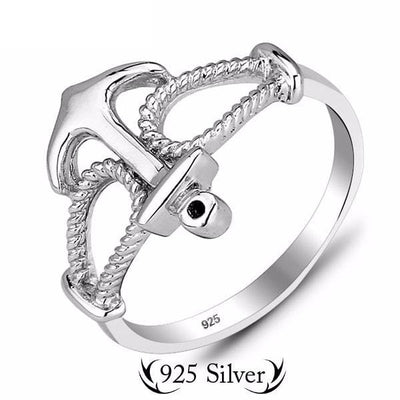 E0RRZQ3C 925 Sterling Silver Roped Anchor Ring