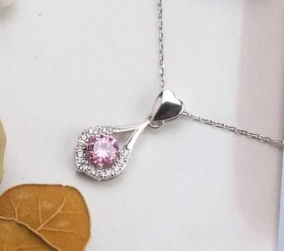 E7T3 925 Sterling Silver CZ Necklace