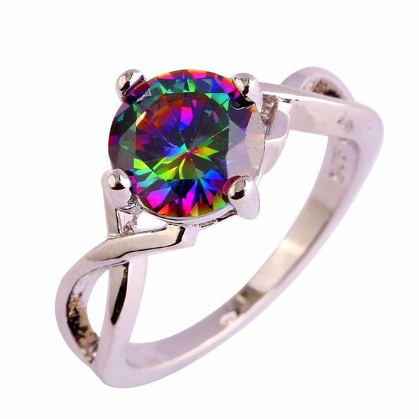 E91ZQV2P 18K Gold Plated Rainbow Topaz Ring