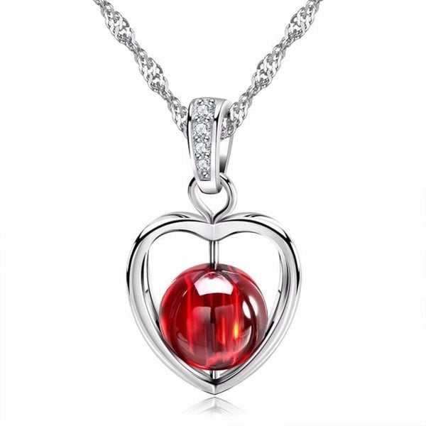 EC23 925 Sterling Silver Red Garnet Heart CZ Necklace