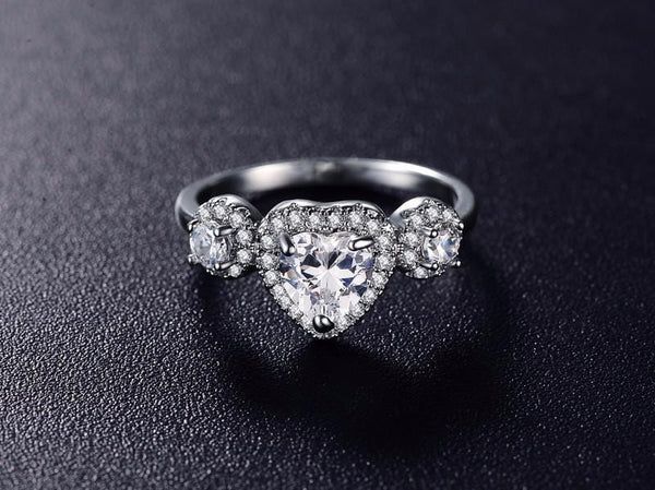 EC7MHA2D Platinum Plated Heart CZ Ring
