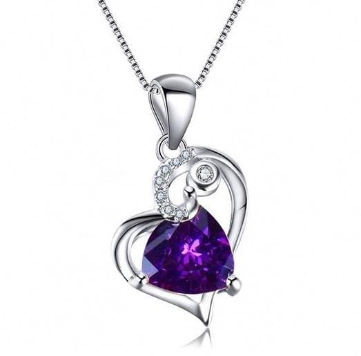 EEWA 925 Sterling Silver Heart CZ Necklace