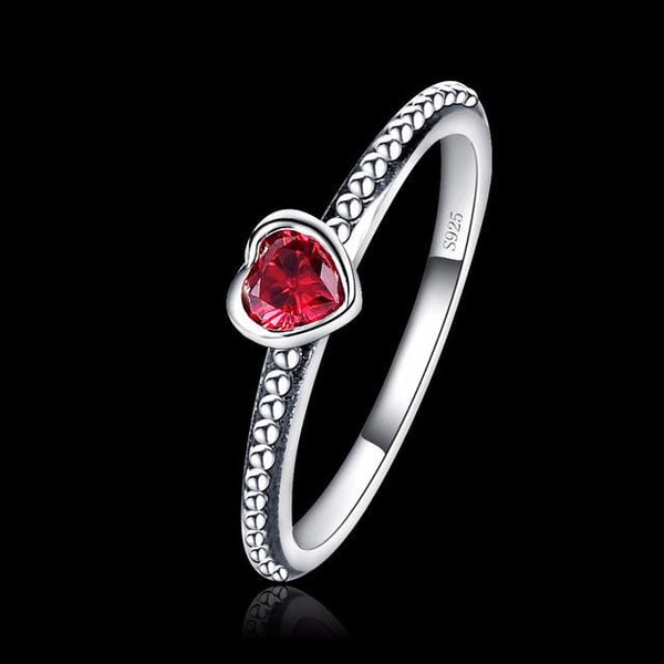 EFDQDHH9 925 Sterling Silver Red Heart CZ Ring