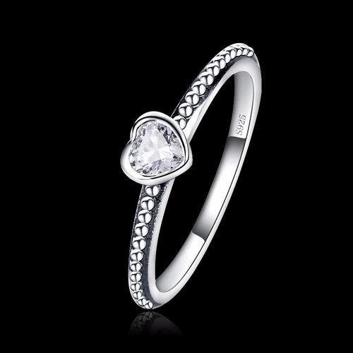 EFZ1ORS7 925 Sterling Siver Heart CZ Ring
