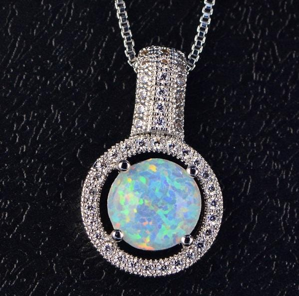 EG83 925 Sterling Silver Opal & CZ Necklace