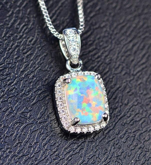 EHW5 925 Sterling Silver Opal & CZ Necklace