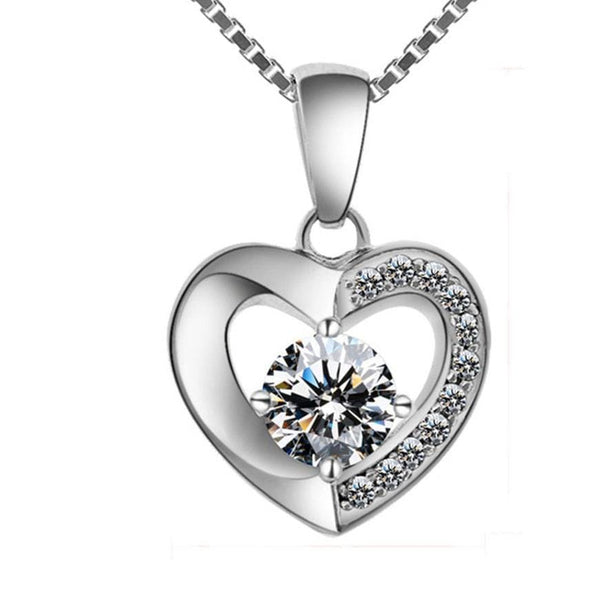 ELJ3 925 Sterling Silver Heart CZ Necklace