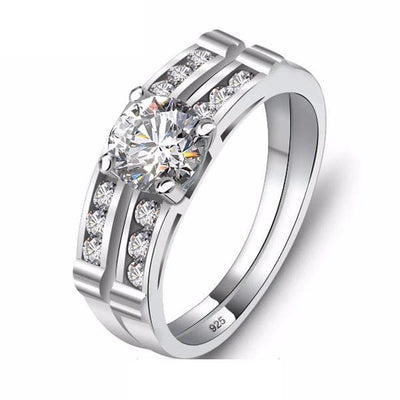 EM0UVFIF 925 Sterling Silver CZ Ring set