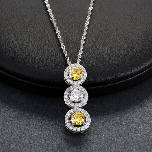 EQ34 925 Sterling Silver Yellow CZ Necklace