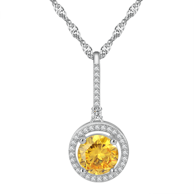EQB2 925 Sterling Silver Yellow CZ Necklace