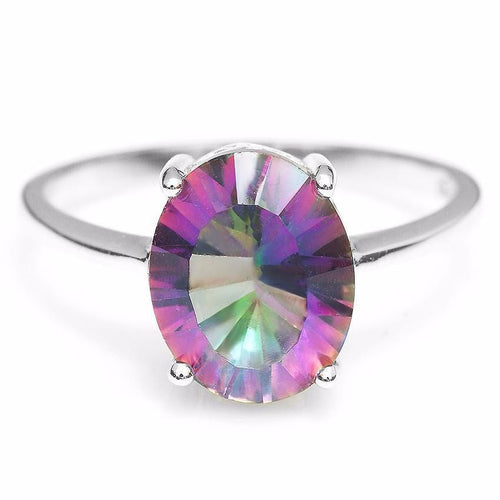 ESAV3CE4 925 Sterling Silver 2.5ct Oval Rainbow Topaz Ring
