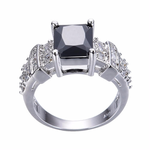EU1XPL2J White Gold Filled Black Sapphire CZ Crystal Ring