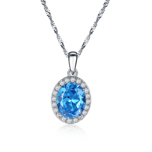 EUCL 925 Sterling Silver Blue Austrian CZ Necklace