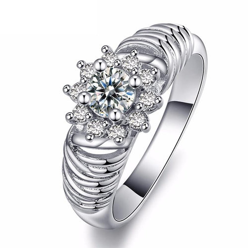F0SM25IG White Gold Plated Flower CZ Ring