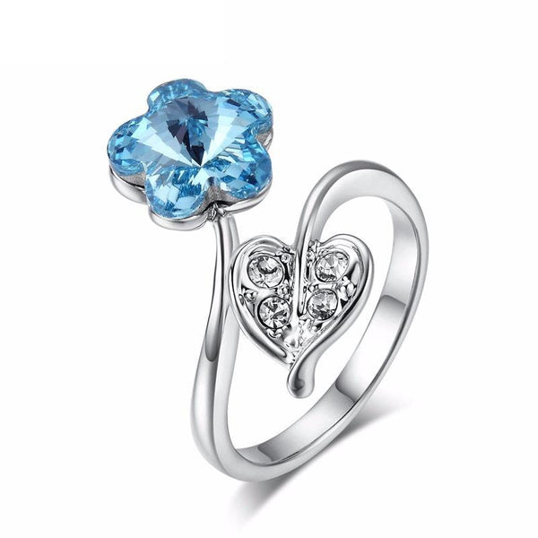 F2J90MM9 White Gold Plated Blue Sapphire CZ Ring