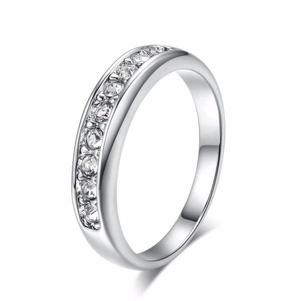 F4V7E4ML White Gold Plated CZ Crystal Band