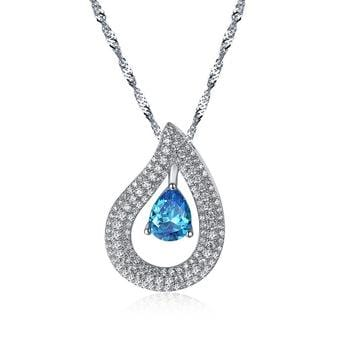F8SK 925 Sterling Silver Blue CZ Necklace