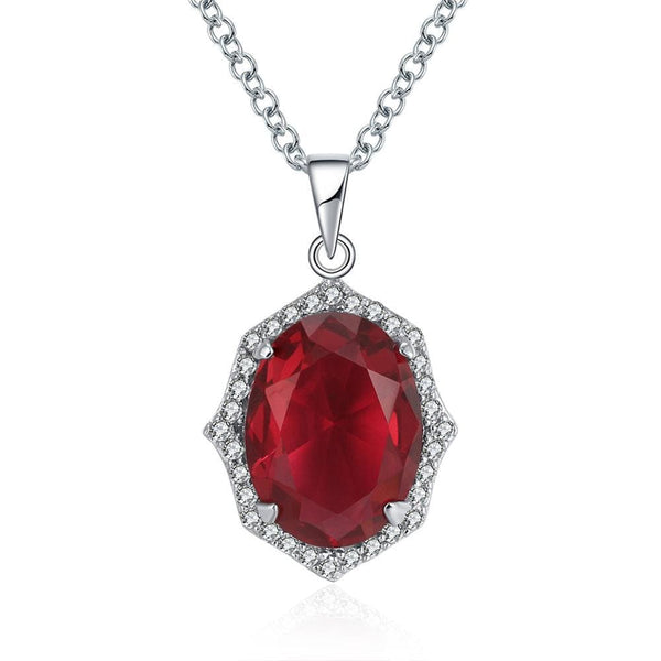 F8UG 925 Sterling Silver Red CZ Necklace