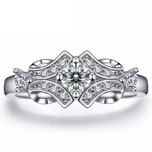 F929UAAC White Gold Plated CZ Ring