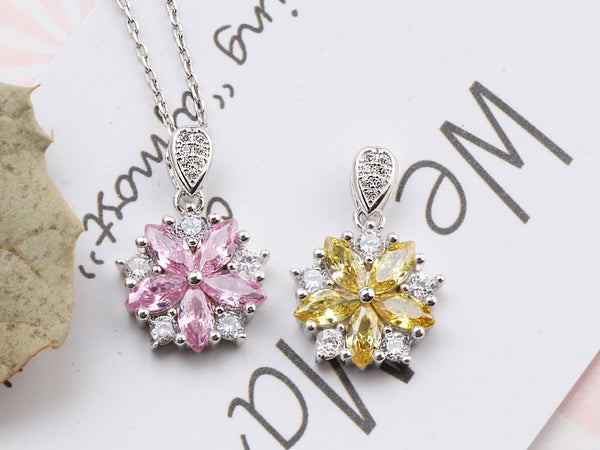 FAZV 925 Sterling Silver CZ Necklace