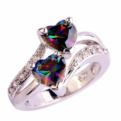 FF5XZ20X Silver Plated Rainbow Sapphire Double Heart Ring