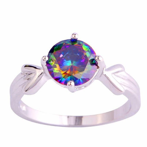 FGLU4MFE Silver Plated Rainbow Sapphire Ring