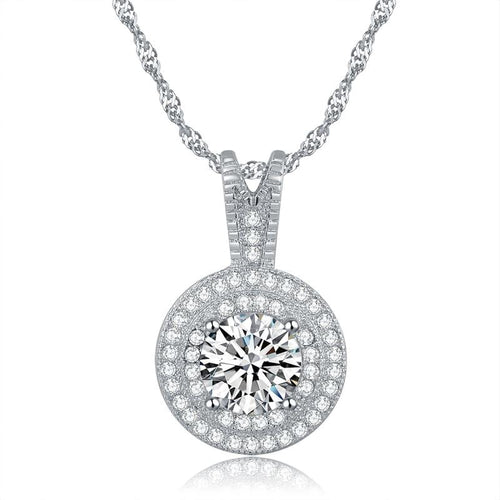 FH6Z Sterling Silver CZ Necklace