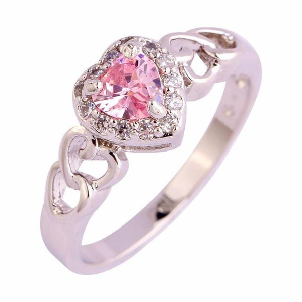 FHB0MLWS Silver Plated Pink Heart CZ Ring