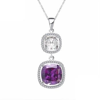 FHHG Sterling Silver Large CZ Necklace