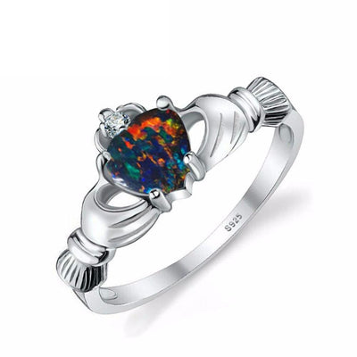 FJNKUK7G 925 Sterling Silver Black Fire Opal Multicolor Claddagh Ring