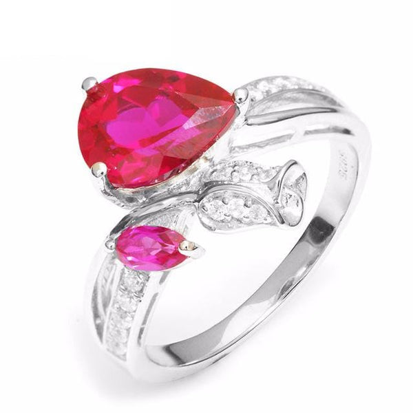 FK3EOYQ9 925 Sterling Silver Ruby Teardrop Ring