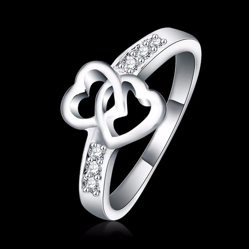 FOBPNU9G Platinum Plated Intwined Heart Crystal CZ Ring