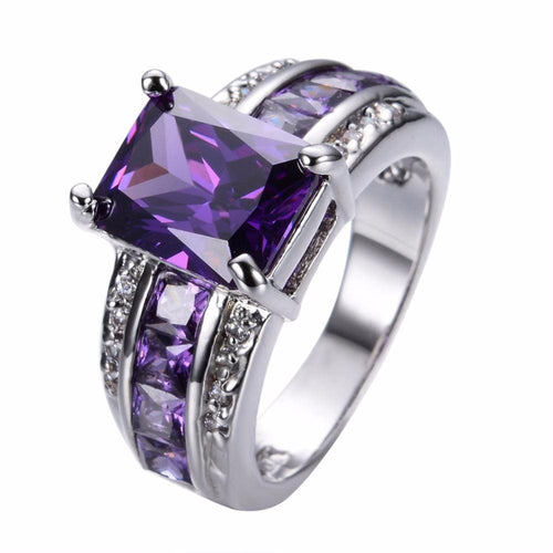 G1YHKYZA White Gold Filled Amethyst CZ Ring