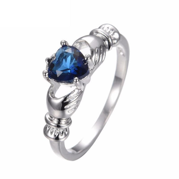 G4GFX4C5 White Gold Filled Blue Sapphire CZ Ring