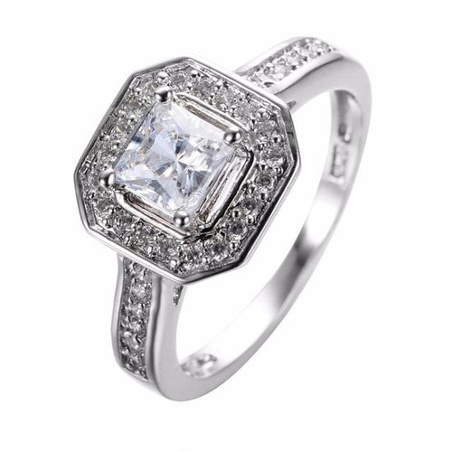 G6QGT14S 925 Sterling Silver Square CZ Ring