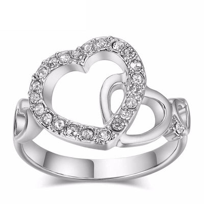 GAQ3WR5R Platinum Plated Linked Heart CZ Crystal Ring