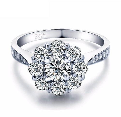 GDV5YIY9 White Gold Plated Floral CZ Ring