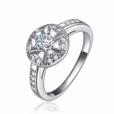 GHBNLCJG White Gold Plated Star CZ Ring