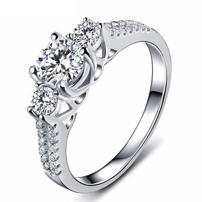 GNF3JJ2I Platinum Plated Three stone CZ Crystal Ring
