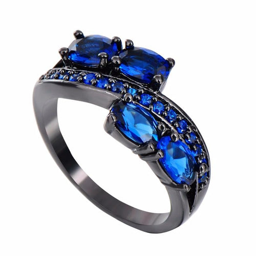 GSPIN8IU Black Gold Filled Blue Sapphire CZ Ring