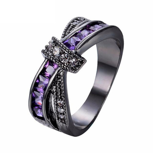 GUCLMGPV Black Gold Filled Amethyst CZ Ring